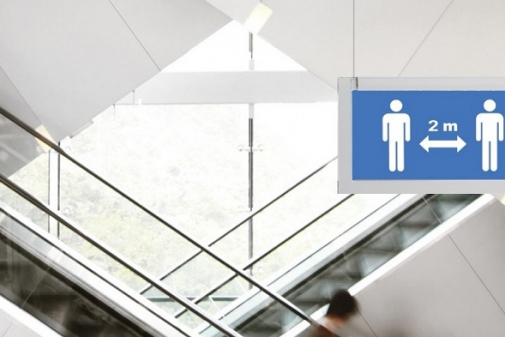 Eaton's CrystalWay physical distancing pictograms helps building owners support local guidelines