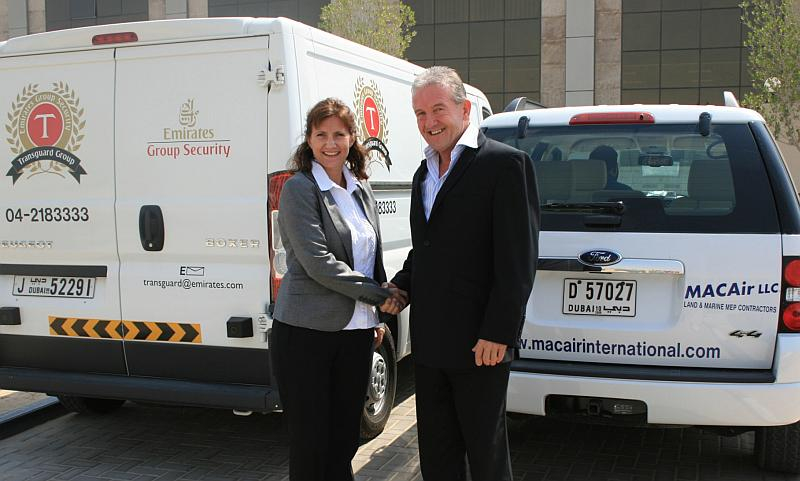 Transguard commercial director Lynne McMurray with MACAir MD Geoff Frost
