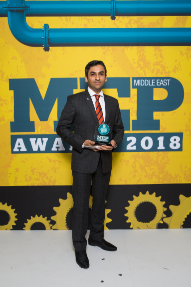 MEP Supplier of the Year went Leminar Air Conditioning Company. Kartik Raval, general manager, Leminar, with the award.