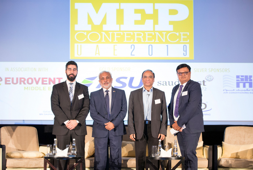 L to R: Hassan Younes, technical director, Griffin Consultants; Jagath Gunawardena, senior manager, projects & building development, Dubai Chamber of Commerce; Suhas Inamdar, head of technical support and planning, Wasl Properties; and Utpal Joshi, head – VRV Dx consulting sales, Daikin Middle East.