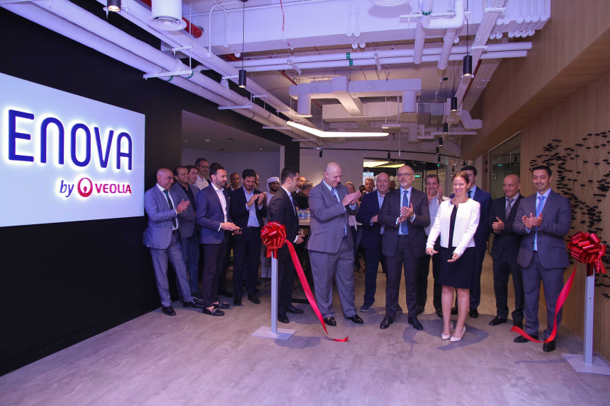 Anne Le Guennec, CEO, Enova and Khaled El Chidiac, acting CEO, Majid Al Futtaim - Ventures and the leadership team launch Enova's dedicated energy and performance space and Hubgrade 4.0 in Dubai.
