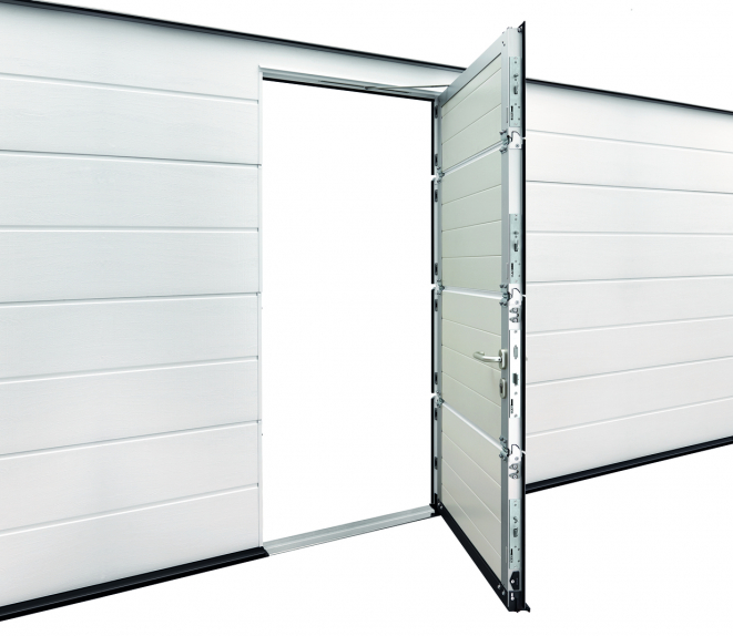 The wicket door is locked over the entire door height with one bolt and hook bolt per section.