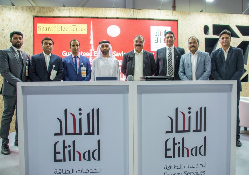 Etihad Energy Services Company (Etihad ESCO) signs agreement with Sharaf Electronics.