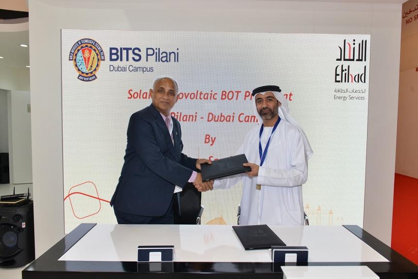 Ranendra N Saha, director BITS Pilani, and Ali Al Jassim, CEO Etihad ESCO, at the signing ceremony.