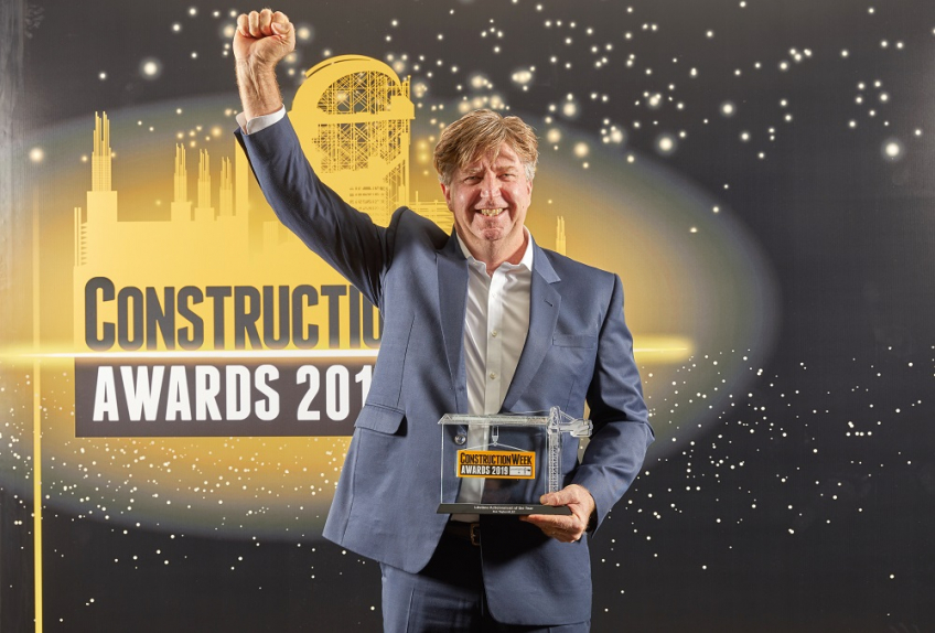 Kez Taylor, ALEC CEO, collected the Lifetime Achievement prize at the 2019 Construction Week Awards.